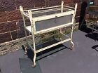 Antique Doctors Office Metal / Glass Medical Cabinet On Wheels - Very Good