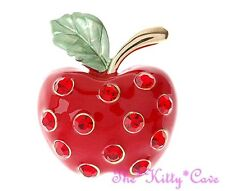 Chic Rojo Esmalte Y Oro pltd Apple Bling Broche Pin C / Brillantes Cristales Swarovski