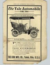 1904 PAPER AD The Yale Automobile Car  Toledo Ohio Canopy Cadillac Transmission