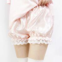 Lady Satin Knicker Panties Pumpkin Bloomer Shorts Underwear Underpants Lace Pink