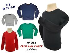 EX M+S Girls Boys School Jumper Kids Sweater Uniform Red Blue V Neck Crew Neck