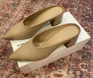 Vince Ralston Low Profile Nude Leather Mules Pointed Toe Leather Heel Size 9.5