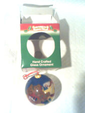 Holiday Style,Hand Crafted Glass Ornament Christmas Bear Theme