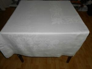 82x63 Vtg Antique FORMAL Hemstitched White IRISH LINEN Double DAMASK Tablecloth