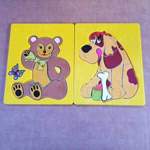 2 Vintage Playskool Plastic Tray Puzzles - Fuzzy Bear & Fuzzy Dog - 10 x 8in