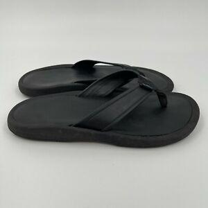 Rainbow Men's Black Thick Flip Flops Premium Leather Sandal Shoes Size 11