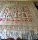 Vintage White Red Pink Floral Roses Embroidered Silk Piano Shawl Scarf 75  X 75