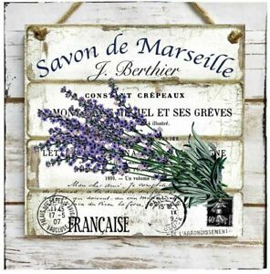 Wooden Hanging sign/picture French Lavender Provence Savon de Marseille Garden