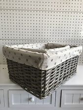 Set3 Wicker Willow Storage Display Basket With Washable Lining Rectangle Grey