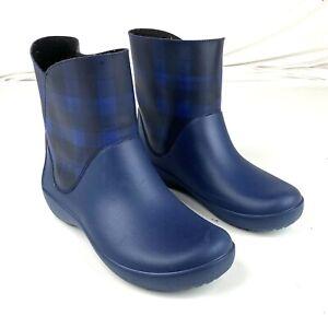 Crocs Shorty Rainboot Blue Plaid Comfort Lightweight Waterproof Size 8 Exc