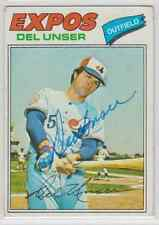 Autographed 1977 Topps Del Unser - Expos