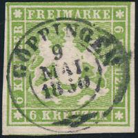 WÜRTTEMBERG, MiNr. 13 a, sauber gestempelt, gepr. Heinrich, Mi. 140,-