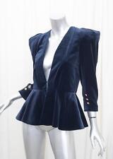 CHLOE Womens Navy Blue Velvet Padded Shoulder Blazer Jacket Coat 36/4 S