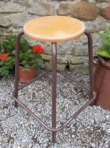 Vintage school stools,metal/wood,5 available,stackable,French,kitchen,plantstand