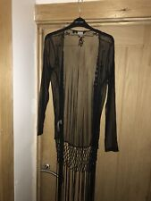 New Look Black Fringed Sheer Cover Up/cardigan Size S £10