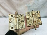 Pair Victorian Antique Cast Iron Ornate Steeple Tip Door Hinges 3.5 x 3.5