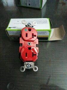 Lot of 6 Leviton 8300-R 20-Amp, 125-Volt, Extra Heavy Duty Hospital Grade, Red
