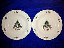 "2 SALEM CHINA Whimsical Christmas 8 3/8"" Salad/Dessert Plates - Excellent"