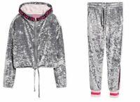 ZARA LARSSON x H&M Crushed Velour Tracksuit Jacket Pants Velvet L Silver Pink