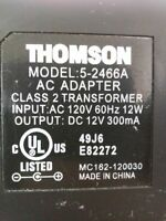 Thomson Model 5-2466A AC Power Supply Charger Adapter Class 2 Transformer 12VDC