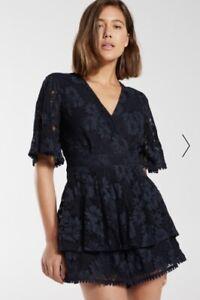 Dotti 'Clara Ruffle' Kimono Short Sleeve Navy Lace Playsuit - BNWOT Size 12