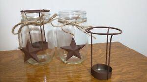 Rustic Tea Light Metal star jam Jar twine set of 2  candle holder