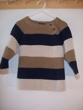 Boys The Children's Place TCP sweater Size 18-24 Months  tan/navy striped heavy