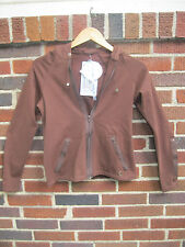 BLUEFISH URBAN CHIC ZIP FRONT HOODIE IN CHOCOLATE COLOR, SZ S