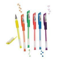 Set 6 Penne Gel Glitter Colorate Colori Fluorescenti Bambini Disegni Scuola dfh