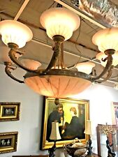 Alabaster antique chandeliers fixtures sconces for sale ebay bronze and alabaster chandelier aloadofball Image collections