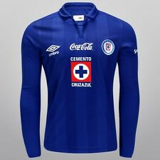 Team Cruz Azul Mens Official Soccer Blue Local LS Jersey Last Umbro Size L  2014