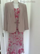 Jacques Vert Mushroom Beige & Cerise Pink, 3 Piece Suit,Top,Skirt & Jacket,18/20