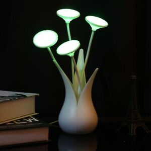 LED Sensor Lamp Night Light Portable USB Yellow Green Rose Red Flowers Lamps