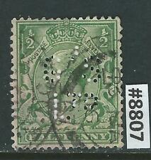 #8807 GREAT BRITAIN Sc#159 Used Perfin King George V 1912-13