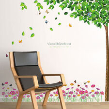 Wall Stickers Mural Decal Paper Art Decoration Green Falling Leaves Flowers Room