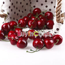30 x Lifelike Fake Faux Cherry Artificial Fruit Model House Kitchen DQUK