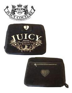 JUICY COUTURE Black Solid Cotton Blend Velour Laptop Computer Bag