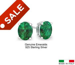 2.00 CTTW Solid .925 Sterling Silver Oval Emerald Studs