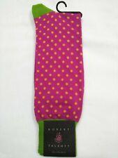 Robert Talbott Dress Socks, pink with yellow polka dots, green heel & toe, 10-13