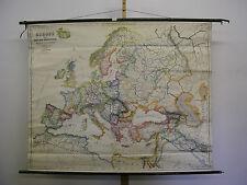 Schulwandkarte Belle Vieux Carte de L'Europe Croisades 159x128c ~1940 Vintage