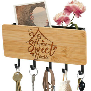 DIY 5 Hooks Key Holder Mail Rack Wall Mount Sorter Organizer Home Sweet Home