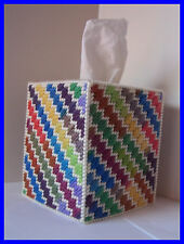 RED BLUE GREEN YELLOW PURPLE HANDMADE PLASTIC CANVAS TISSUE BOX COVER TOPPER