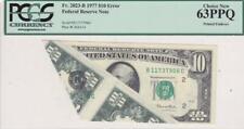 1977 $10 FRN Error Note PCGS Choice New 63PPQ Printed Foldover Fr 2023-B