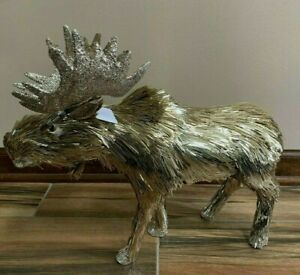 """PIER 1 IMPORTS Gold TINSEL Christmas MOOSE Figurine 16""""L 15""""H NWT BEAUTFUL"""