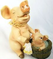 Youngs Inc Pig Bathing Figurine Farm Traditions 10425 Piglet Bath Decor 5.5 in