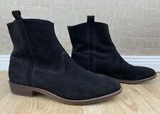 H&M Damen Gr. 38 Wildleder Stiefeletten Velours Ankle Boots Stiefel schwarz Q5