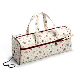 PRYM IVORY LINEN FABRIC WITH COUNTRY ROSE PRINT BAG  Knitting and Needlework