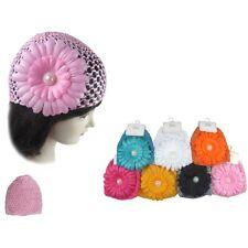 6pc Baby Flower Girl Crochet knit Flower infant Knit Hat cap Beanie for newborn