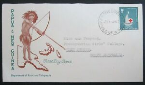 PAPUA NEW GUINEA 1963 RED CROSS CENTENARY SG46 5d FIRST DAY COVER.