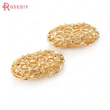 (30773)4PCS 24K Gold Color Brass Oval Spacer Bracelet Beads Jewelry Findings